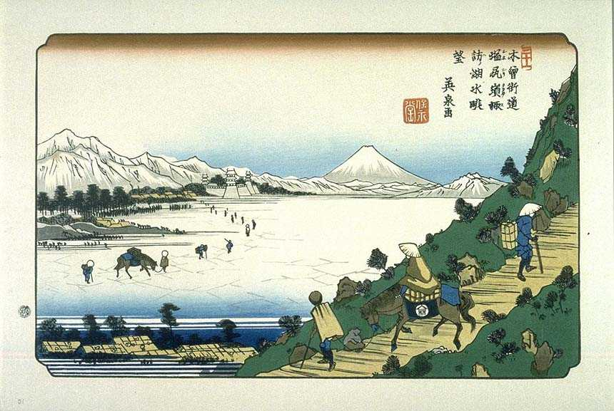 Shiojiri on the Kisokaido, ukiyo-e prints by Keisai Eisen
